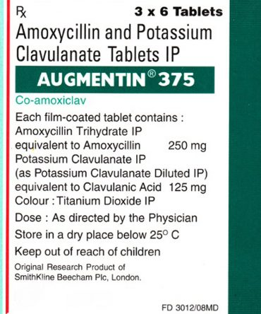 Augmentin 375mg (6 capsules) online by Intas